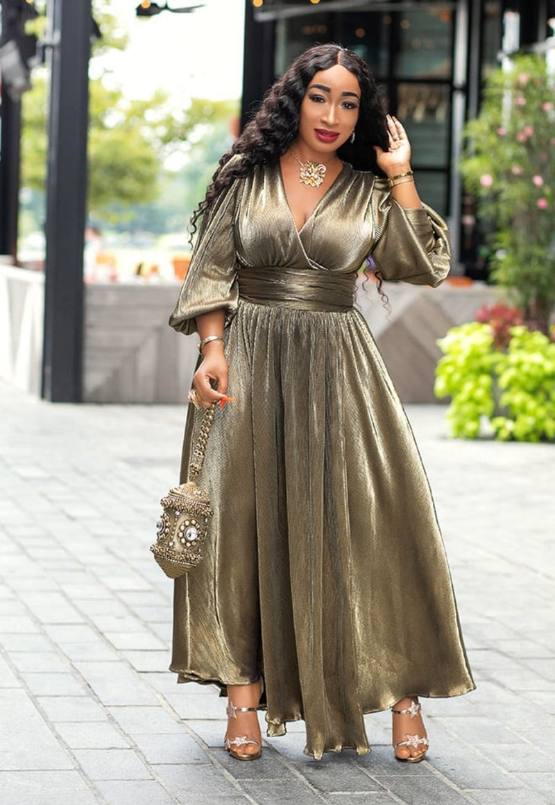 Tilly Gold- Lantern Sleeve Dress (New)