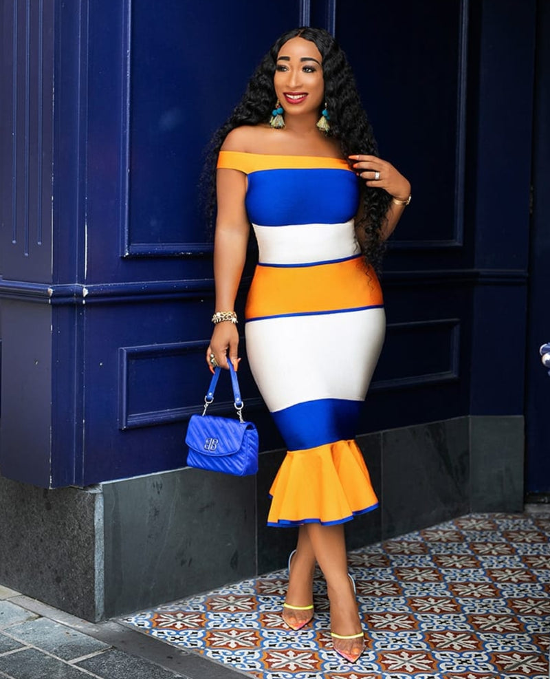 Tangerine Blues- Colorblock Fishtail Bandage Dress (NEW)