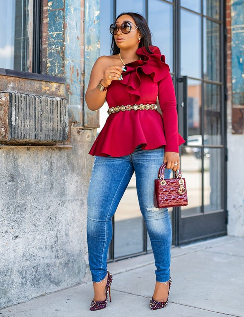 Rosabelle- Ruffle One Sleeve Peplum Blouse (New)