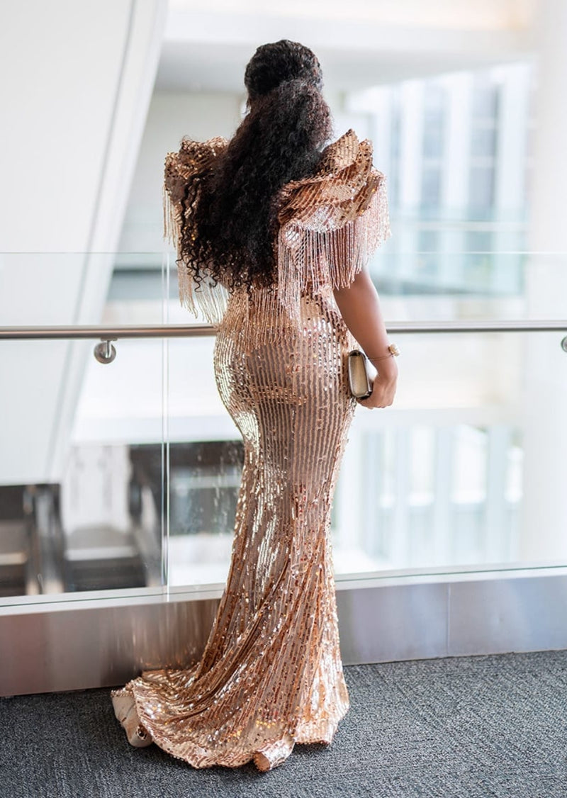 Davina Gold Luxe- Beaded/Sequin Floor Length Dress