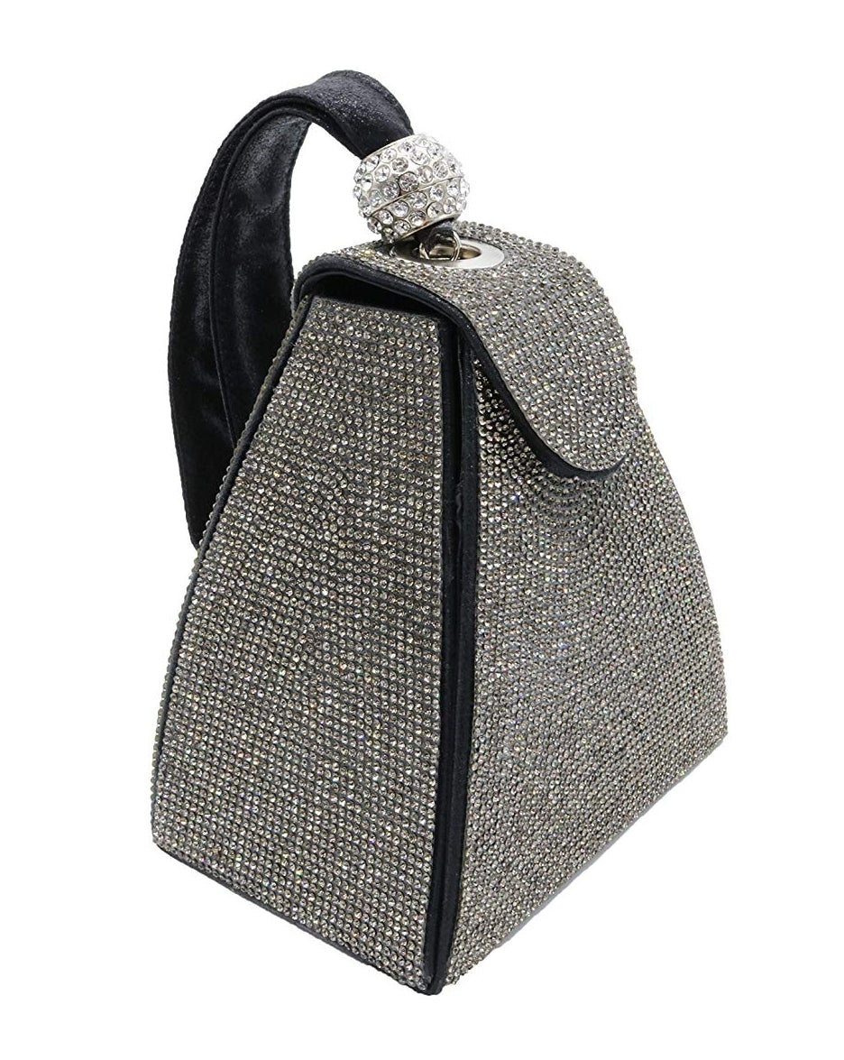 Louvre Triangle- Pyramid Shape Rhinestone Evening Clutch (New)