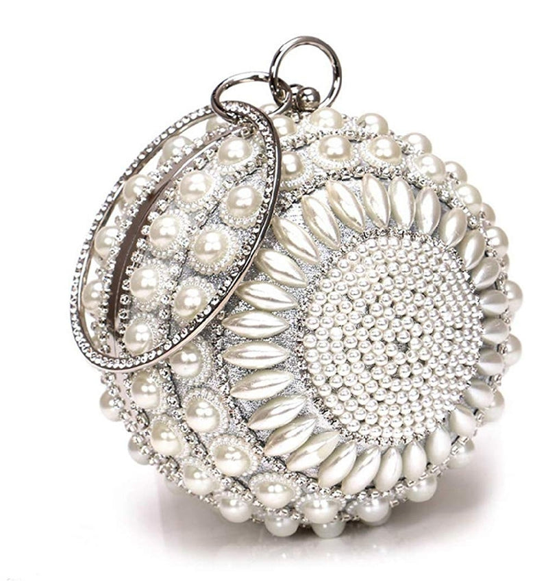Pearla Crystal- Round Shape Rhinestone Evening Wristlet Clutch (New)