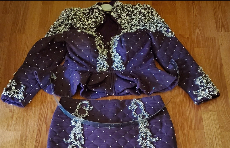 Violet BLINGS Luxury- 3pc Peplum SET with 3D Beads/Gemstones (New)