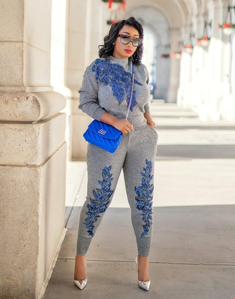 Lettie- 2 pcs Embellished Sweater Tracksuit Set (NEW)