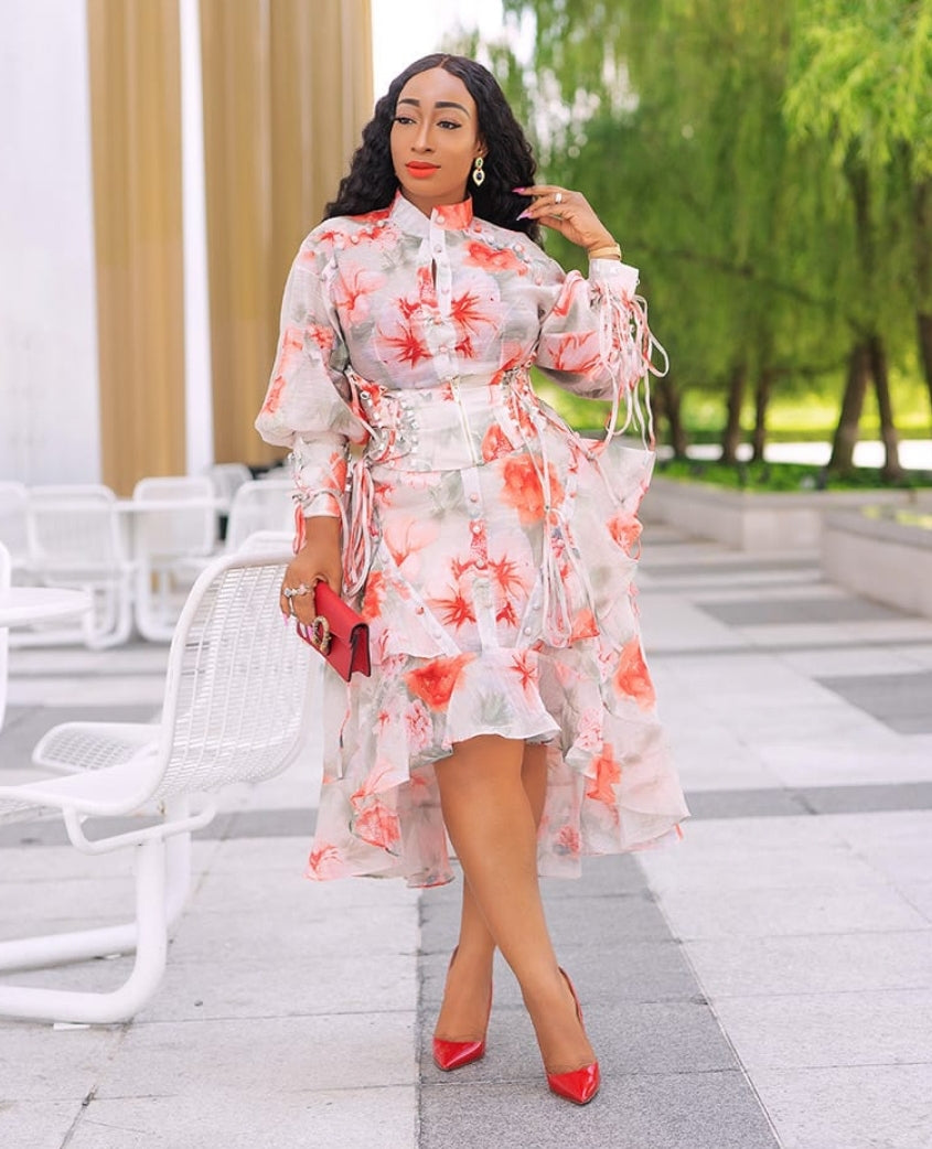 Daisy- Floral Asymmetrical Dress