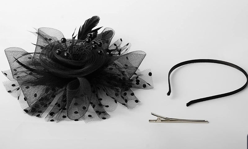 Lily Blossom FASCINATOR Feather/Mesh Headband (Ships in 5-7 days)