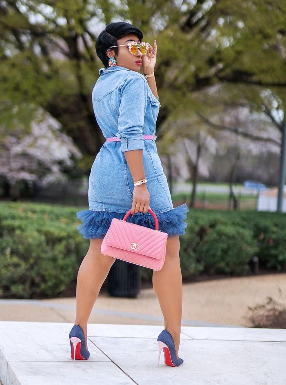 Fly Chic- Tulle Denim Dress/Duster