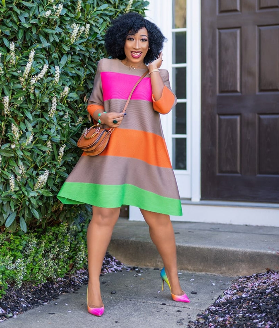 Melinda- Color Block Swing Dress (NEW)