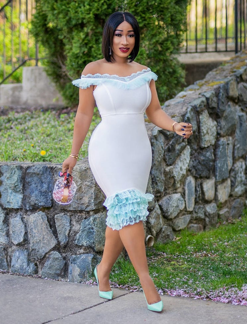 Bianca- Ruffle Lace Bandage Dress (NEW)