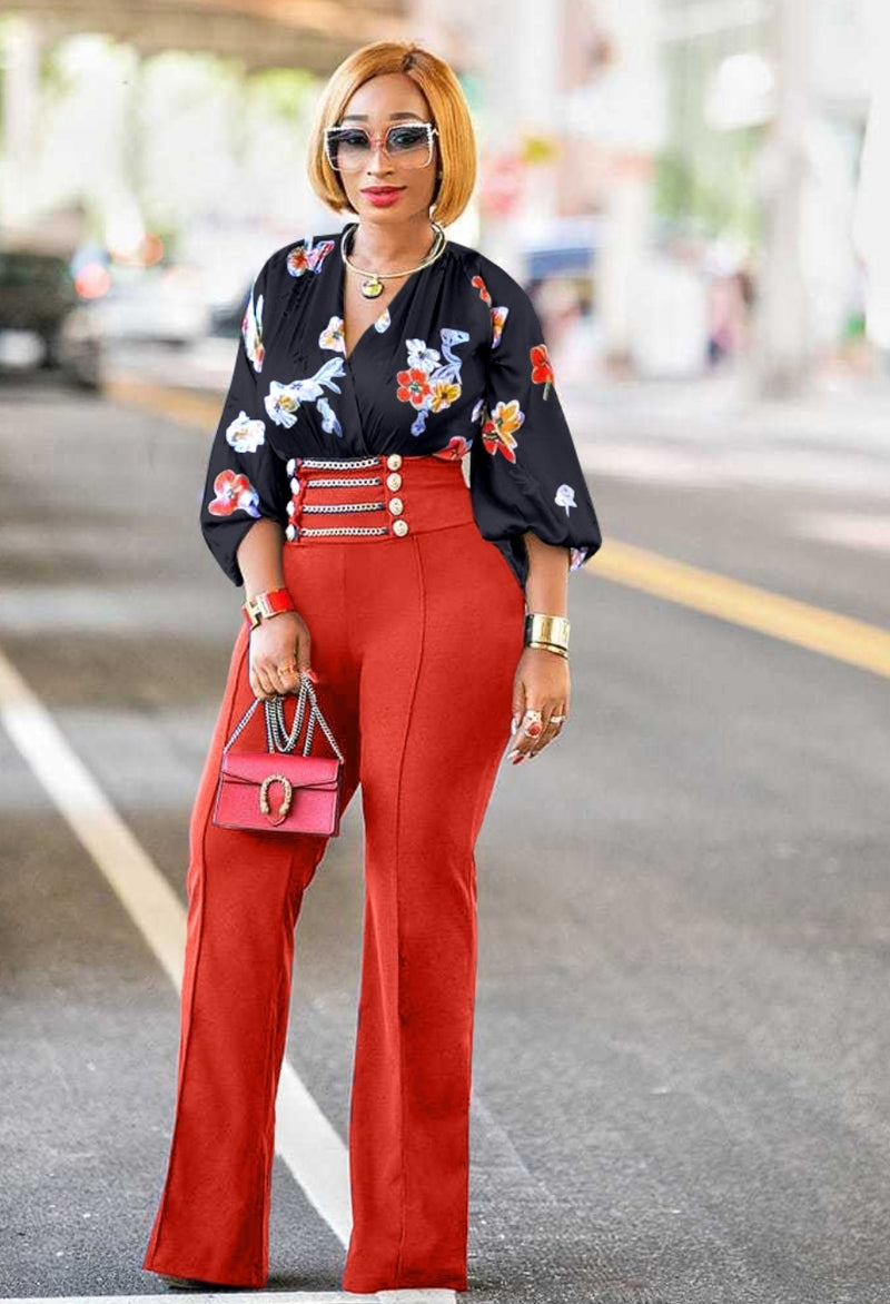 Hazel- Split V-Neck Floral Bodysuit Blouse