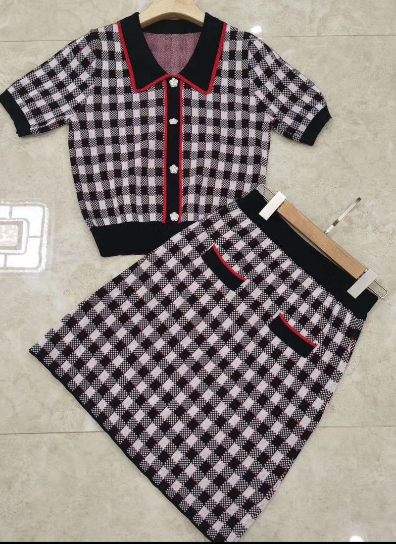 Pretty In Plaid- 2pcs Mini Skirt Set (New)