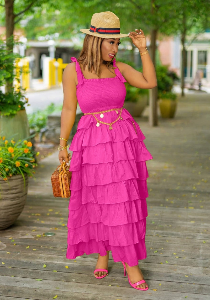 Summer In The City- Layer Ruffle Maxi Dress (New)