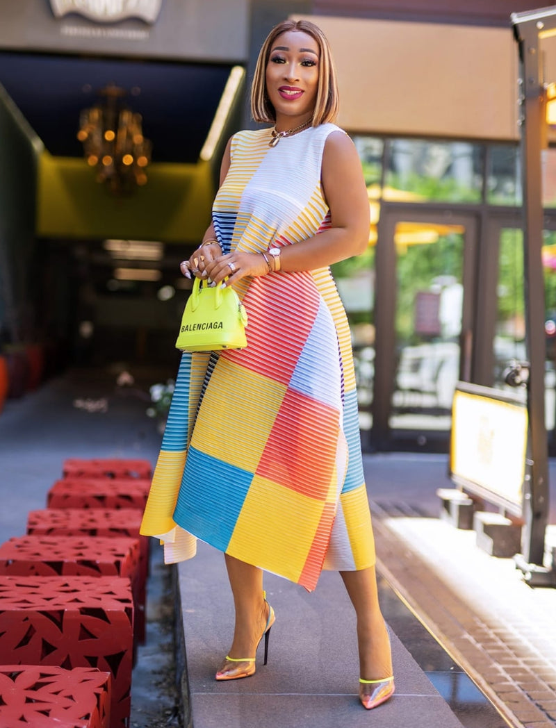 Rosalinda YELLOW MULTI- Color Block/Stripes Asymmetrical Dress (NEW)