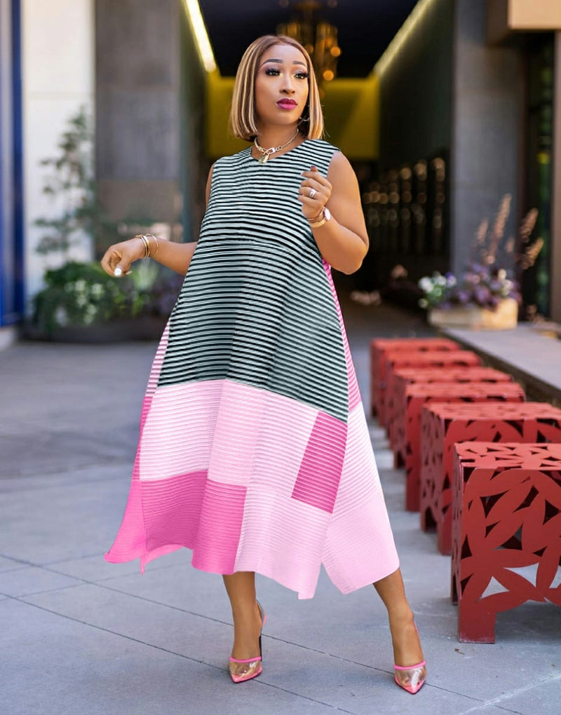 Rosalinda PINK MULTI- Color Block/Stripes Asymmetrical Dress (NEW)