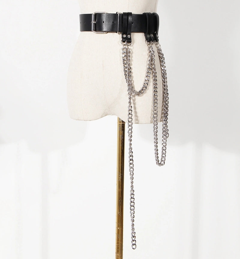 Chain Link Cascade- Faux Leather Belt (NEW)
