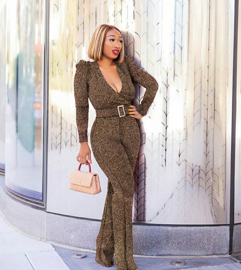 Zoelle- Metallic Belted Jumpsuit (NEW)