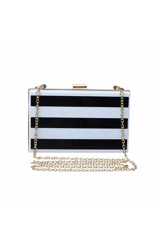 Bande'- Black White Stripe Acrylic Evening Clutch
