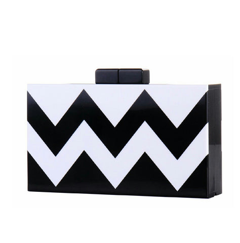 Bande' zigzag- Black White zigzag Stripe Acrylic Evening Clutch