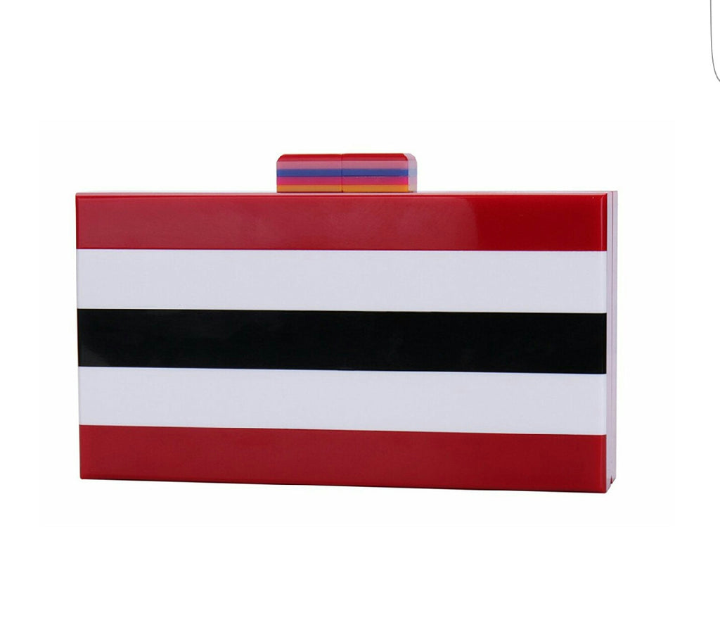 Bande' Red- Black/White/Red Stripe Acrylic Evening Clutch