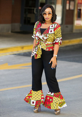 Kemmy- 2pc Stoned Ankara Blouse/Bell Pant set