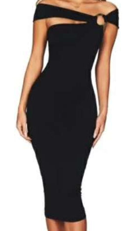 Joella- Circle Link Crossover Strap Bandage Dress