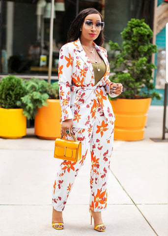 Autumn Bloom- 2pc Blazer/Pant Set