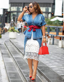 City Chic- 3pc Denim Dress Top Set