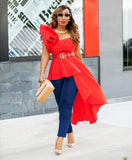 Italy- Asymmetrical Peplum Blouse (New)