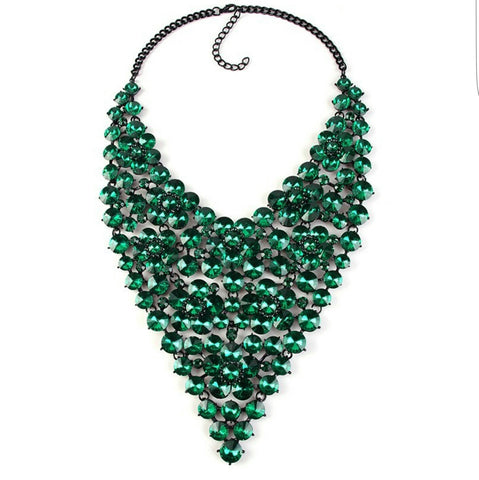 Green color rhinestone chunky crystal statement necklace