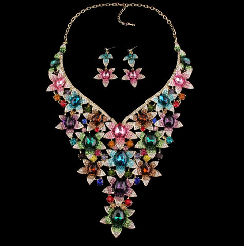 Crystal Flower Multi-Color Gemstone wedding/bridal Statement necklace set