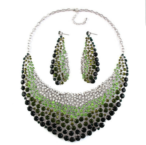 Gorgeous gem crystal multi-shades of green wedding, bridal or party necklace set