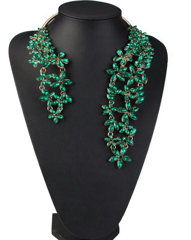 Emeralda- Crystal Floral gemstone semi-choker statement necklace