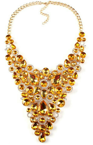 Amber color rhinestone chunky crystal statement necklace