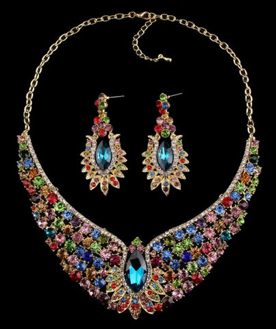 Gweneth- Crystal Chunky Peacock Multi-Color Gemstone Statement necklace set