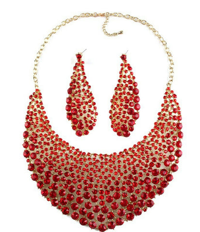 FINAL SALE!! Crimson- Gorgeous gem crystal bright red wedding, bridal or party necklace set