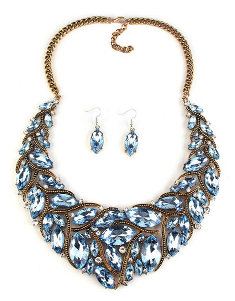 Neela- Pastel blue Chunky crystal statement necklace and earring set