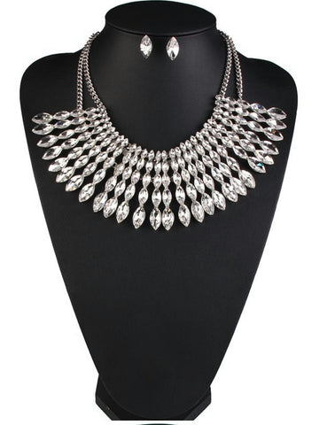 Blanche- Clear rhinestone chunky crystal statement necklace set