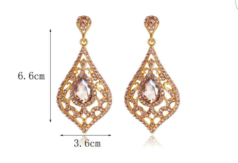 Topazia- Crystal tear-drop gemstone long statement earring