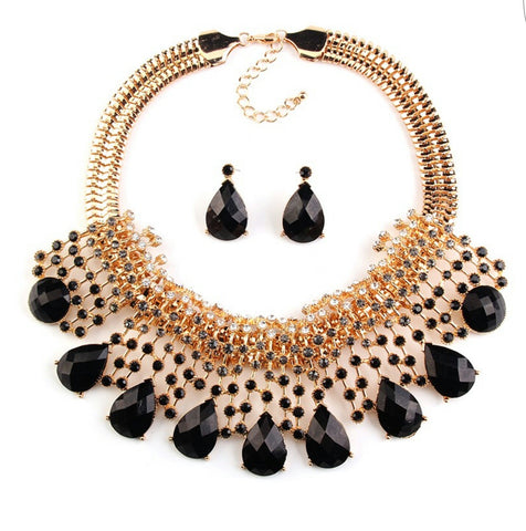 Bijou- Color stones/rhinestone chunky statement necklace set
