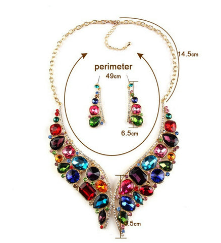 Garnet- Crystal Multi-Color Gemstone Statement necklace set
