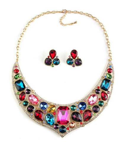 Aurelia- Crystal Multi-Color Gemstone Statement necklace set