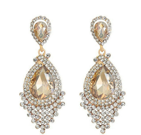 Alexandriah- Crystal tear-drop gemstone statement earring