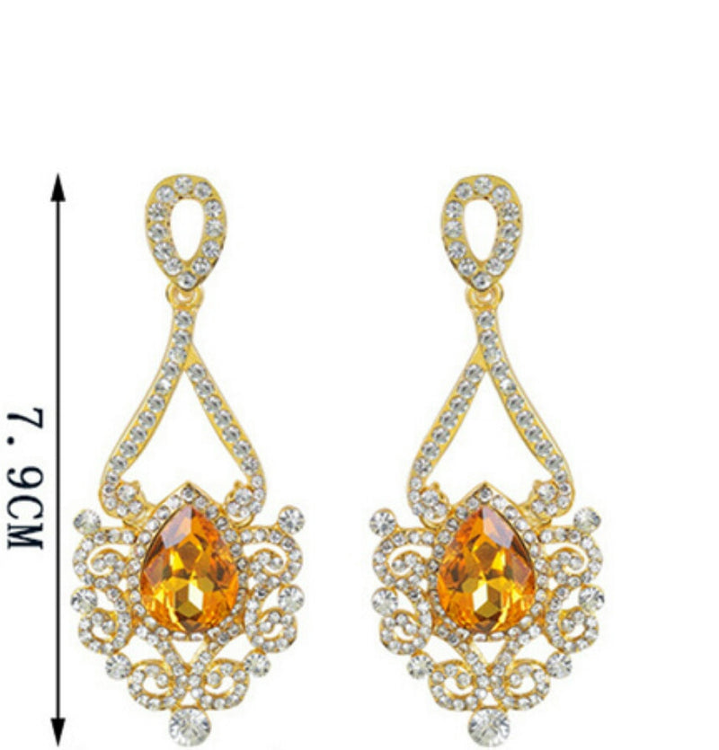 Citrina- Golden Yellow Crystal tear-drop gemstone long statement earring