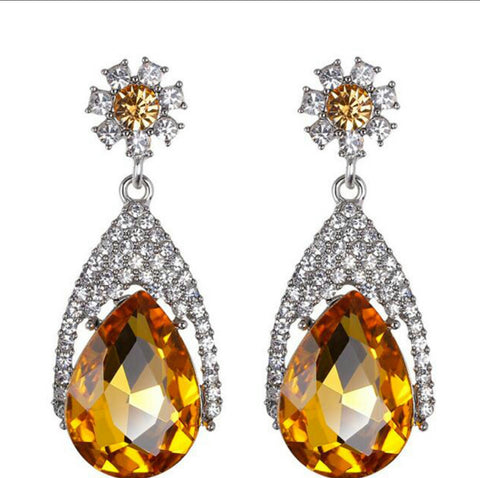 Goldie- Golden Yellow Crystal tear-drop gemstone statement earring