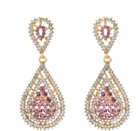 Bianka- Crystal tear-drop clear/purple gemstone long statement earring