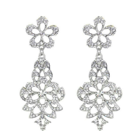 Gemma- Crystal tear-drop clear gemstone long statement earring