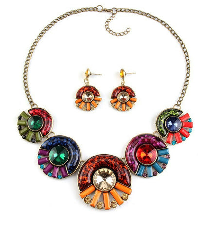 Ametrina- Multi-colored stones statement necklace set