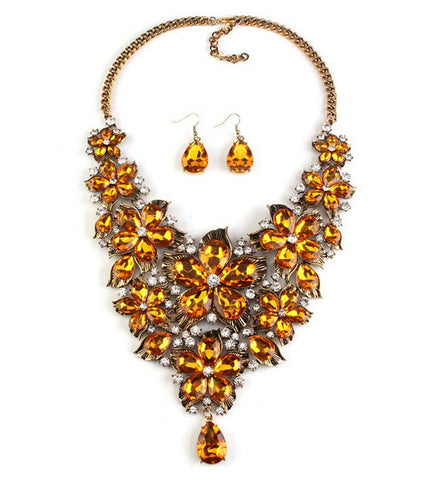 Berylia- Golden Yellow Chunky crystal petal statement necklace and earring set