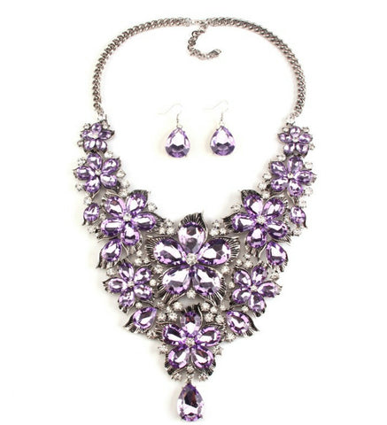 Berylia- Lilac purple Chunky crystal petal statement necklace and earring set