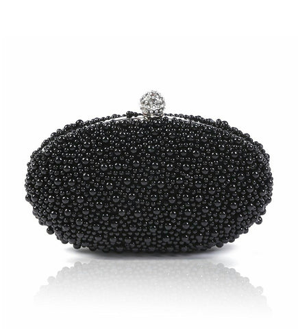 Black Beads Crystal Clasp oval Evening Clutch